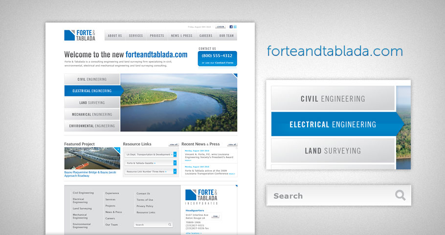 Website design for Baton Rouge based engineering firm Forte & Tablada