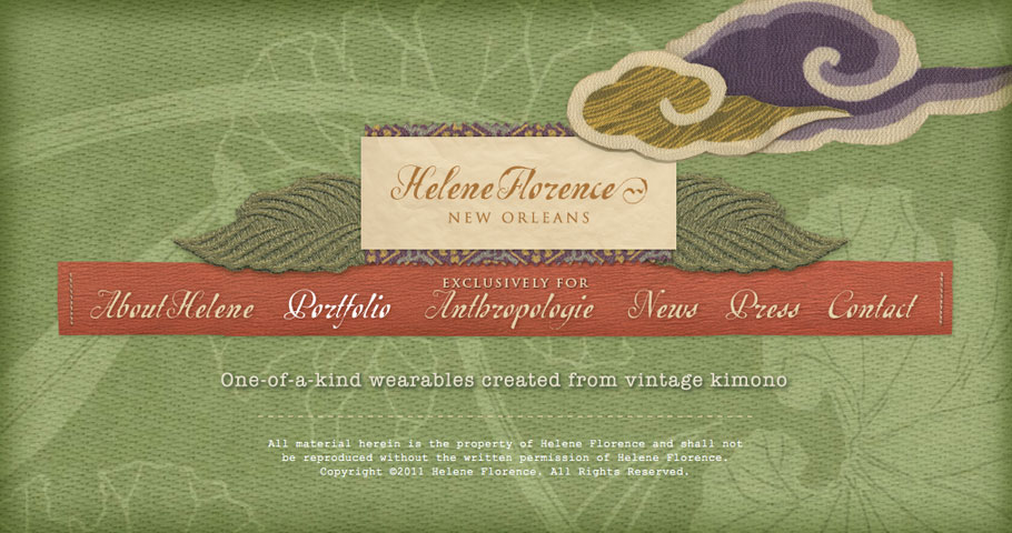 Website design and development for New Orleans based designer Helene Florence.